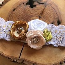 Baby Toddler Cluster Flowers Headband Photo Prop Tan Gold White Blush 0027 Gift Photo