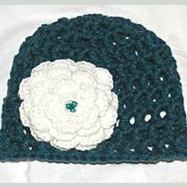 Babytoddler Girl  Beanie Crochet  Flower  Hat Aqua(0-5months) Photo