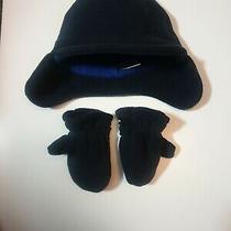 Babygap 0-6 Months Boys Fleece Trapper Lined Hat Mitten Gloves Set Navy Blue Photo