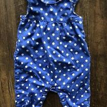Babygap 6-12 Month Girl Romper Blue White Polkadot  Photo