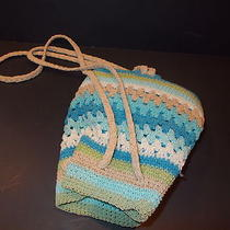 Backpack Handbag Purse Crochet Aqua Lime Turquoise Natural Xhilaration  Photo