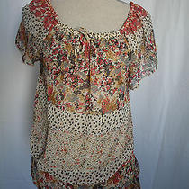 Backstage Tee Top  Blouse Pink Multicolor  Size L Floral See Through Photo
