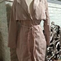 Badgley Mischka American Glamour Blush Beige Button-Up Trench Coat Sz M New Photo