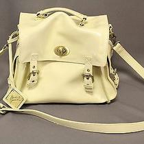 Badgley Mischka Authentic Ivory Leather Purse Camera Bag Handbag Crossbody Photo