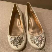 Badgley Mischka Bianca Jeweled Ballet Flats Size 8 Ivory Satin Originally 145 Photo