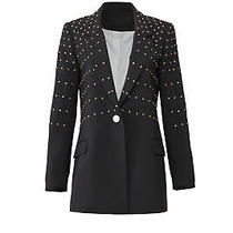 Badgley Mischka Black Women's 4 Grommet Embellished Tailored Blazer 595- 086 Photo