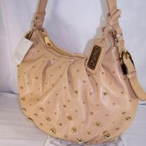 Badgley Mischka Brigitte Studded Hobo Sand 475 Nwt Photo