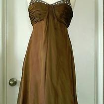 Badgley Mischka Bronze Gold Ruched Bust Shot Silk Party Dress Jeweled Strap Sz 4 Photo