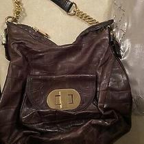 Badgley Mischka Brown Textured Gold Chain Hobo Tote Bag Euc  Photo