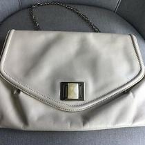 Badgley Mischka Cream Patent Leather Flap Shoulder Bag Clutch Jewelry Turn Lock Photo