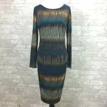 Badgley Mischka Dress 8 Black Blue Fitted Stretch Rouched Long Sleeve Career Photo