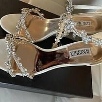 Badgley Mischka Feather Crystal Embellished Sandal Wedges Size 9.5 M Photo