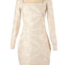 Badgley Mischka Gold Embroidered Long Sleeve Midi Dress Size 2 199 New Photo