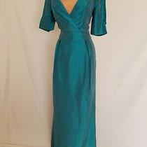 Badgley Mischka Green Blue Gown Maxi Long Dress Size 4 Sexy Square v-Neckline Photo