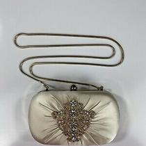 Badgley Mischka Ivory White Satin Silk Wedding Clutch Handbag Purse Nwt 199 Photo