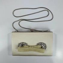 Badgley Mischka Ivory White Silk Satin Wedding Clutch Handbag Purse Nwt 199 Photo