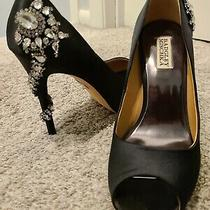 Badgley Mischka Kiara Women Shoes Embellished Peep-Toe Evening Pumps Blue Sz 8 M Photo