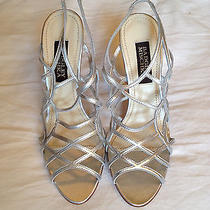 Badgley Mischka Leather Silver High Heels Shoes Sz 36 6 New 598 Open Toe Sexy Photo