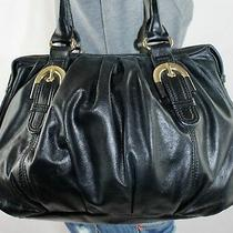 Badgley Mischka Medium Black Leather Shoulder Hobo Tote Satchel Slouch Purse Bag Photo