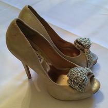 Badgley Mischka Metallic Suede Wedding Shoes Heels Pumps With Silver Beading 6.5 Photo