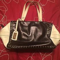 Badgley Mischka Nina Smooth Leather Satchel Handbag Black/ Off White Photo