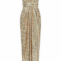 Badgley Mischka Pink Blush Women's Size 12 Sequin Ruched v-Neck Gown 650- 476 Photo