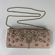 Badgley Mischka Pink Satin Silk Wedding Rhinestone Clutch Handbag Purse Nwt 199 Photo