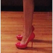 Badgley Mischka Red Leather Pumps Size 6 Photo