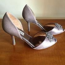 Badgley Mischka Salsa Pewter Metallic Sz 7 Nwob Wedding Shoes Photo