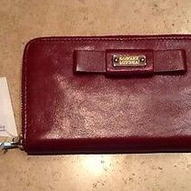 Badgley Mischka Sasha Wine Shine Leather Wallet  Nwt - 185  Photo