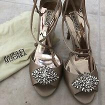 Badgley Mischka Satin Evening Sandal Women's Size 10 Nude Blush Bride Rhineston Photo