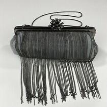 Badgley Mischka Silver Leather Chain Wedding Clutch Handbag Purse Nwt 199 Photo
