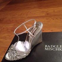 Badgley Mischka Silver Wedding Shoe Bridal Bride Wedge Heels Size 7.5 Naomi Photo