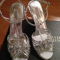 Badgley Mischka Silver Wedding Shoe Bridal Bride Wedge Size 7.5 Naomi Photo