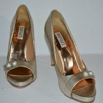 Badgley Mischka Simba Ii Gold Leather Open Toe Pumps Women Sz 9.5 M Euc Photo