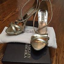 Badgley Mischka Strappy Gold Wedding Shoes /platform Photo