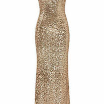 Badgley Mischka Women Dress Rose Gold Size 6 Gown Sequin Draped-Back 620- 698 Photo