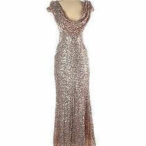 Badgley Mischka Women Gold Cocktail Dress 2 Photo