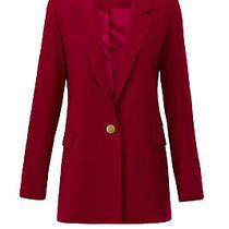 Badgley Mischka Women's Blazer Red Size 10 One Button Long Sleeve 465- 052 Photo