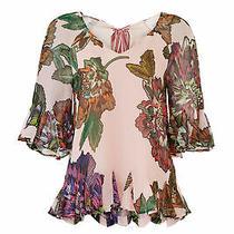 Badgley Mischka Women's Blouse Pink Size 2 Bell-Sleeve Floral v-Neck 355- 375 Photo
