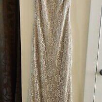 Badgley Mischka Women's Dress Blush Size 4 Gown Metallic Lace 595 127117 Photo