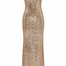 Badgley Mischka Womens Dress Rose Gold Size 4 Gown Sequin Draped-Back 620- 696 Photo