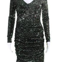 Badgley Mischka Womens Long Sleeve Sequin Samrock Dress Ruched Size S 11557039 Photo