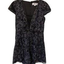 Badgley Mischka Womens Mini Sequin Romper Dress Look Size 10 10264514 Authentic  Photo