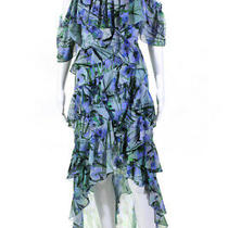 Badgley Mischka Womens Multi Printed High Low Maxi Dress Blue Size 0 10577448 Photo