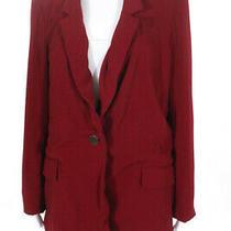 Badgley Mischka Womens Ruby Blazer Button Up v-Neck Jacket Red Size 12 11354588 Photo
