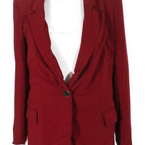Badgley Mischka Womens Ruby Notched Collar One Button Blazer Red Size 4 11353912 Photo