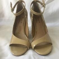 Badgley Mischka Womens Size 8 Patent Leather Yellow Wedge Sandal Shoes S Photo