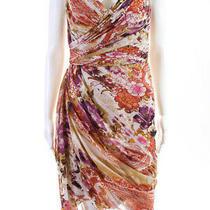 Badgley Mischka Womens Sleeveless v Neck Draped Ruched Dress Orange Silk Size 4 Photo