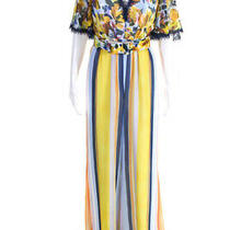 Badgley Mischka Womens Striped Belted v Neck Wide Leg Jumpsuit Multi Colored Siz Photo